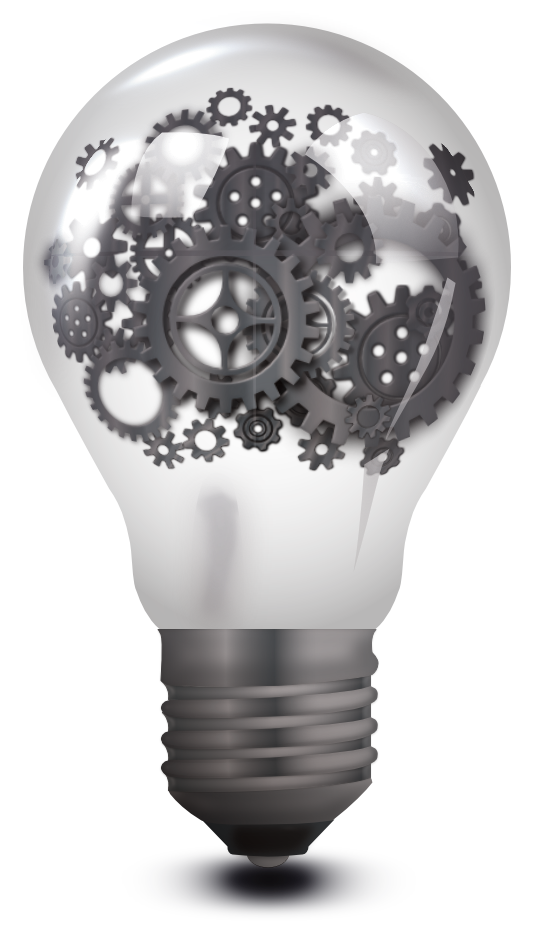 image of a bulb containing cogs